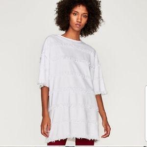 Zara Oversized Fringe T-Shirt Dress New With Tags